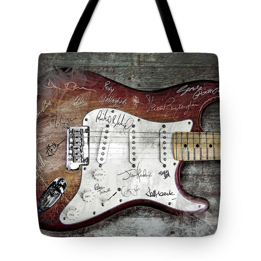 Guitar Tote Bag featuring the digital art Strat Guitar Fantasy by Mal Bray