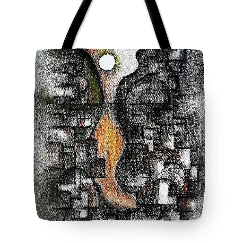 Abstract Tote Bag featuring the pastel Stratified Breeze by Fei A