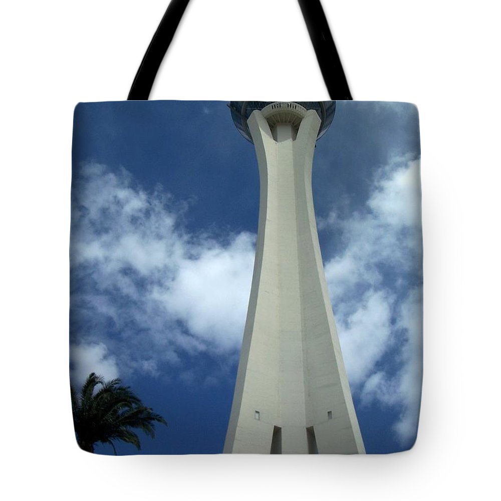 Stratosphere Tower Tote Bag featuring the photograph Stratosphere Tower by Anita Burgermeister