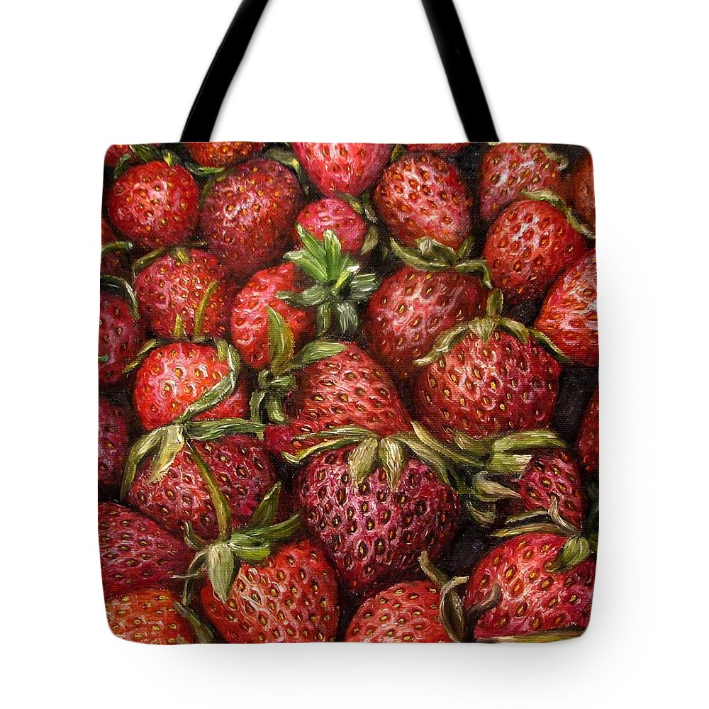 Strawberries Tote Bag featuring the painting Strawberries -2 Contemporary Oil Painting by Natalja Picugina