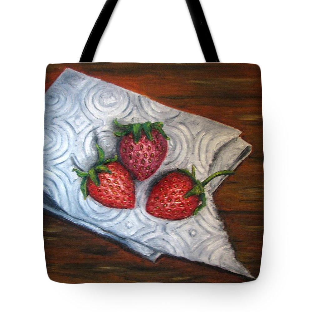 Strawberries Tote Bag featuring the painting Strawberries-3 Contemporary Oil Painting by Natalja Picugina
