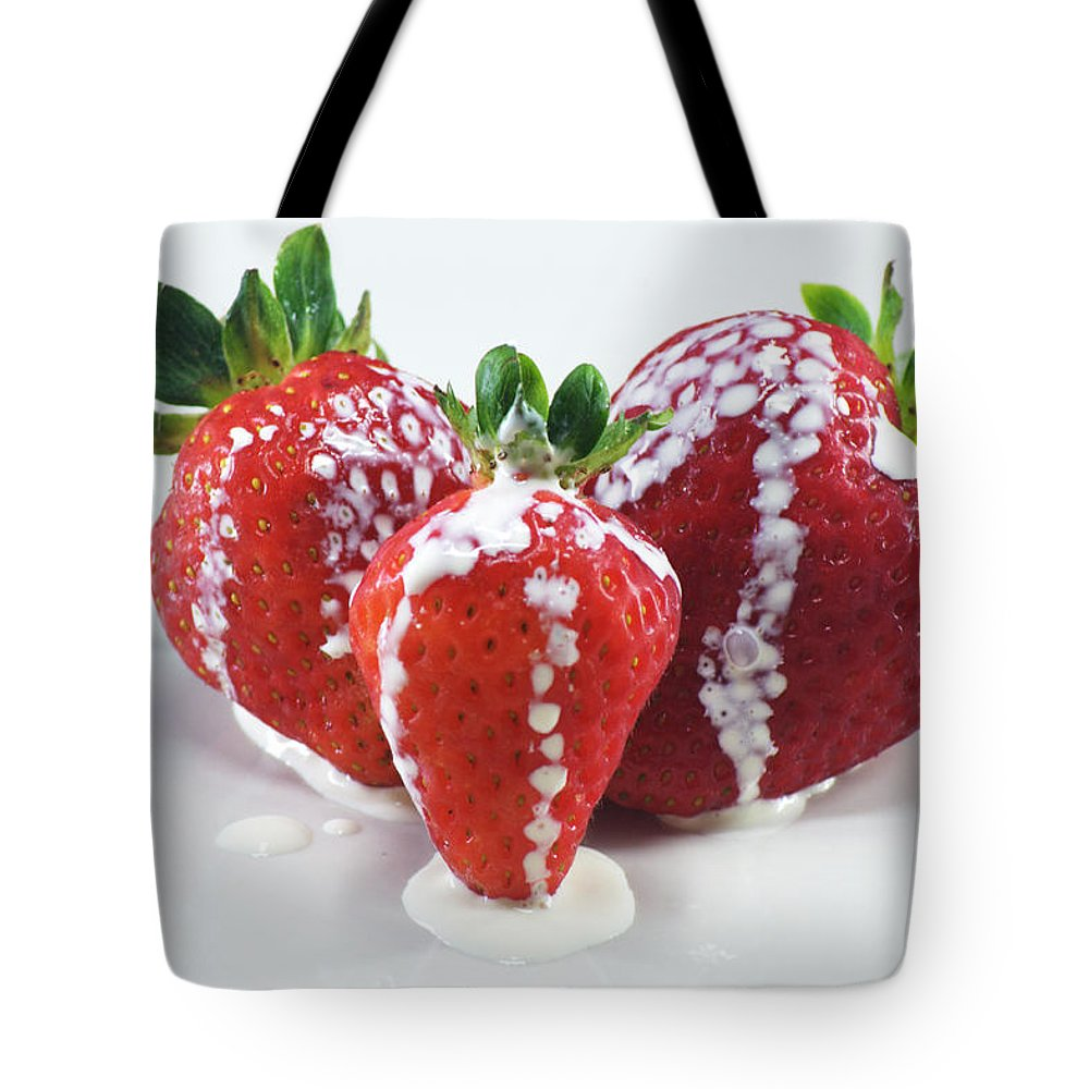 Strawberry Tote Bag featuring the photograph Strawberries And Cream by Chris Day