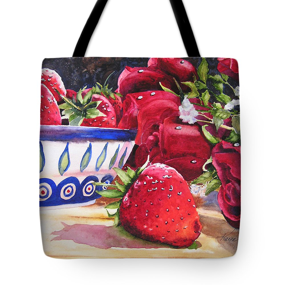 Strawberries Tote Bag featuring the painting Strawberries and Roses by Karen Stark