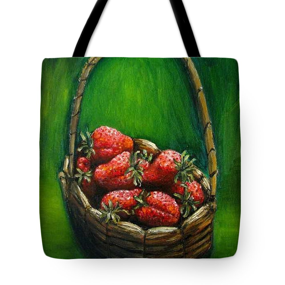 Strawberries Tote Bag featuring the painting Strawberries Contemporary Oil Painting by Natalja Picugina