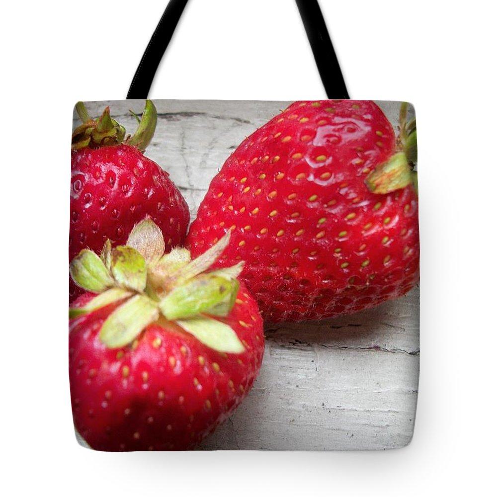 Tote Bag featuring the photograph Strawberries by Jan Gilmore