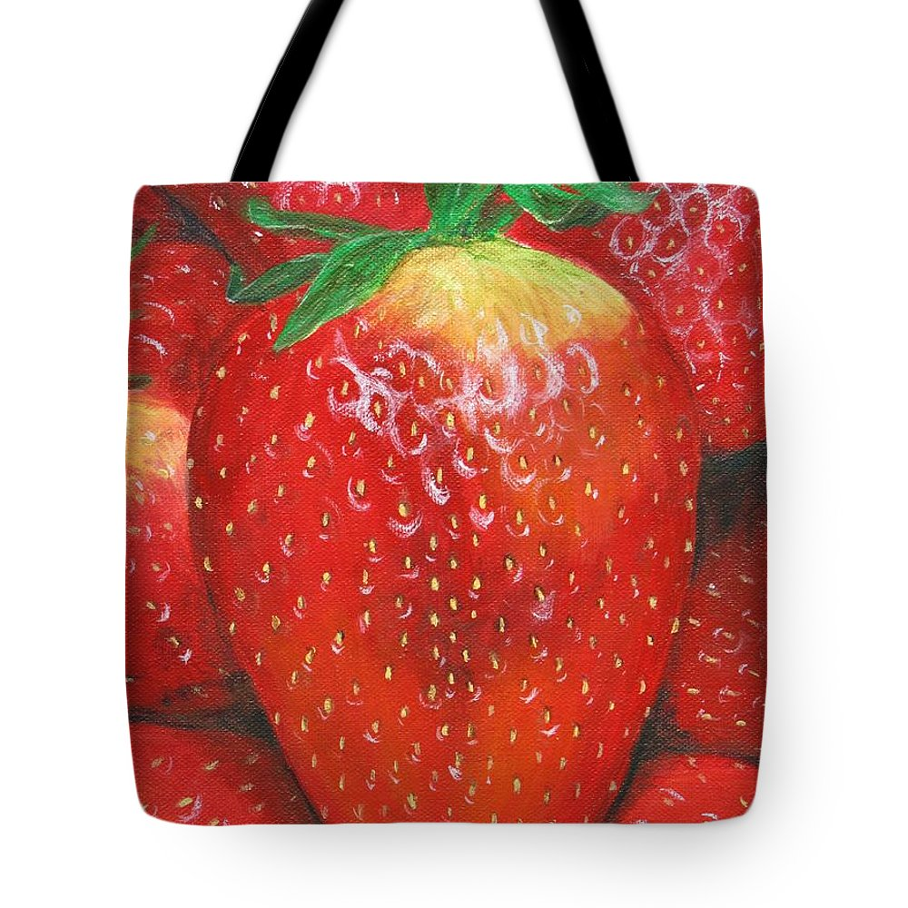 Strawberries Tote Bag featuring the painting Strawberries by Nancy Nale