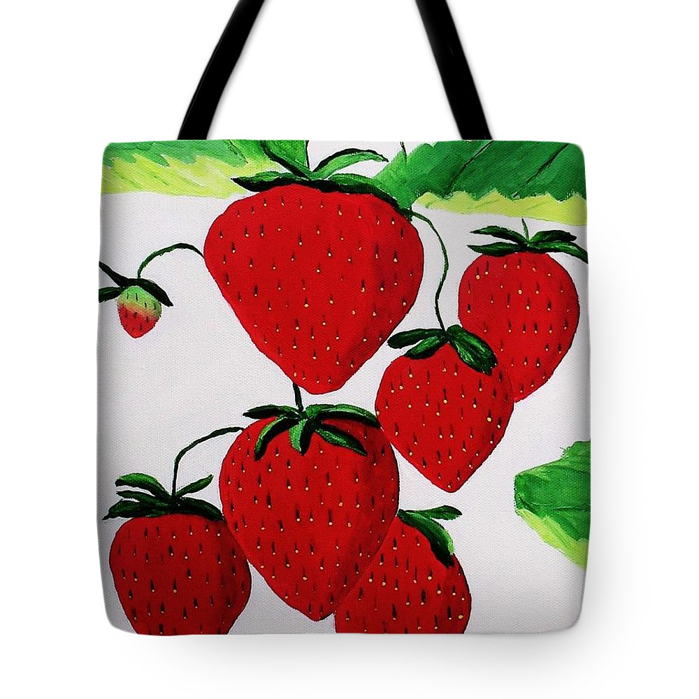 Strawberries Tote Bag featuring the painting Strawberries by Rodney Campbell