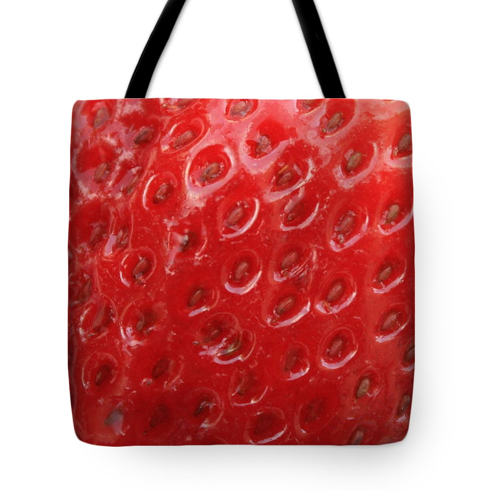 Strawberry Tote Bag featuring the photograph Strawberry Closeup by Carol Groenen