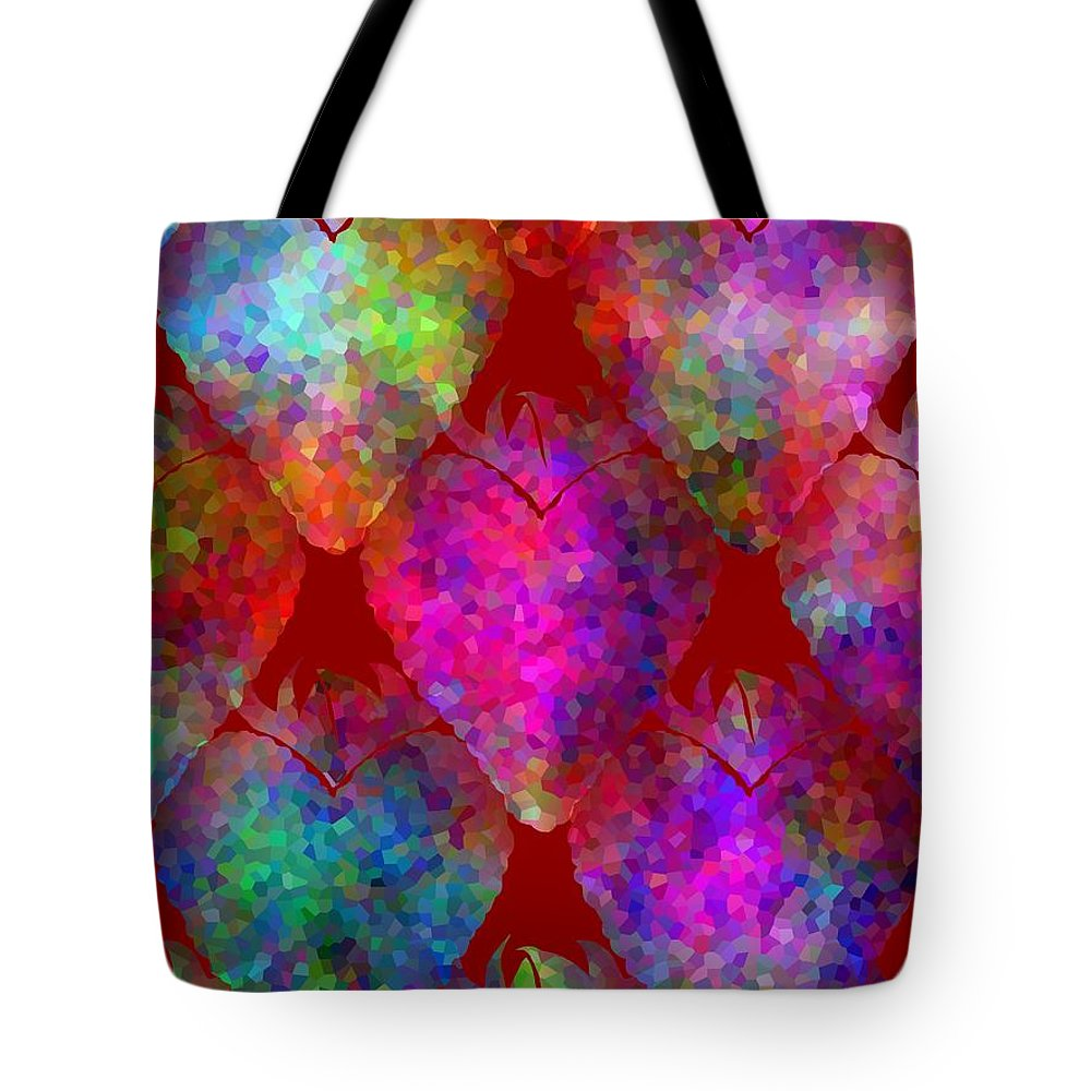 Strawberry Art Tote Bag featuring the mixed media Strawberry - Food Pattern by Kathleen Sartoris