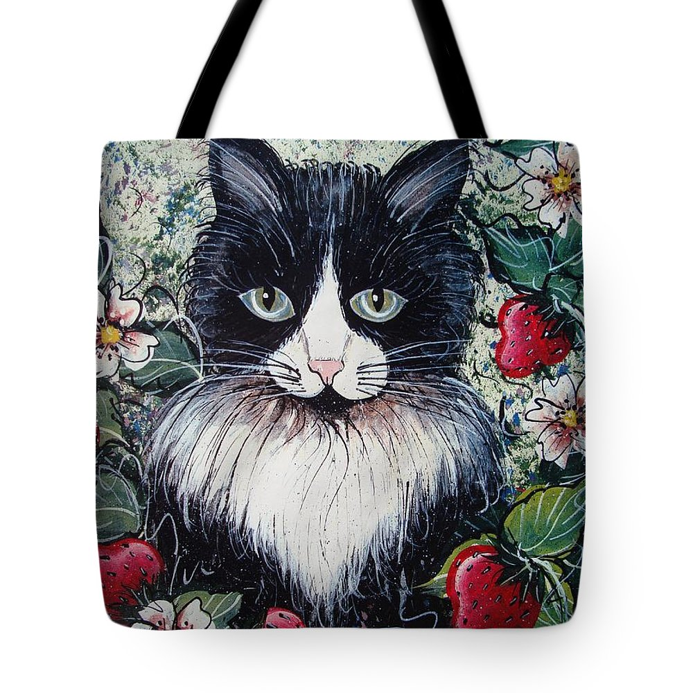 Cat Tote Bag featuring the painting Strawberry Lover Cat by Natalie Holland