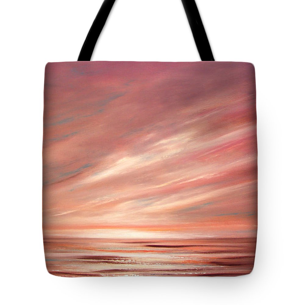 Sunset Tote Bag featuring the painting Strawberry Sky Sunset by Gina De Gorna