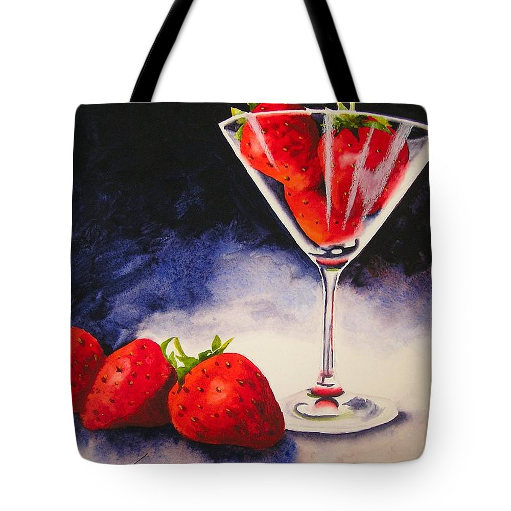 Strawberry Tote Bag featuring the painting Strawberrytini by Karen Stark