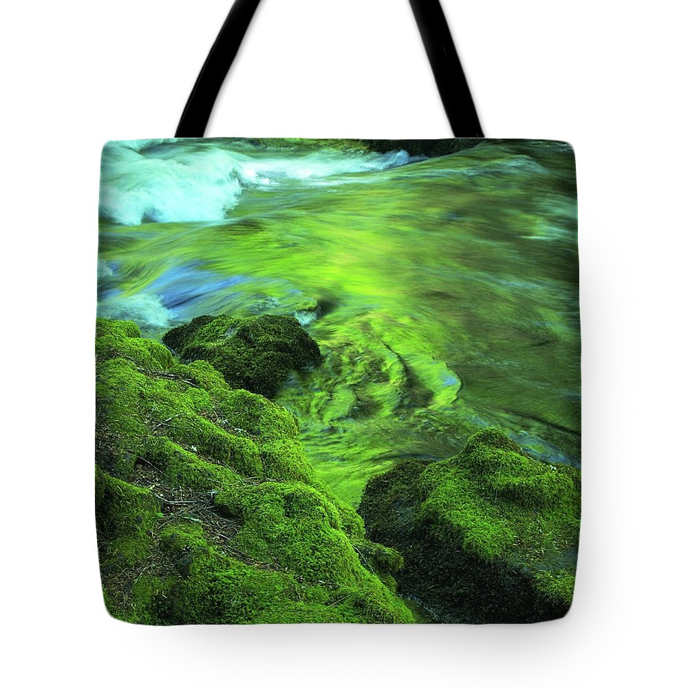 Green Tote Bag featuring the photograph Stream Above Whitehorse Falls by Teri Schuster