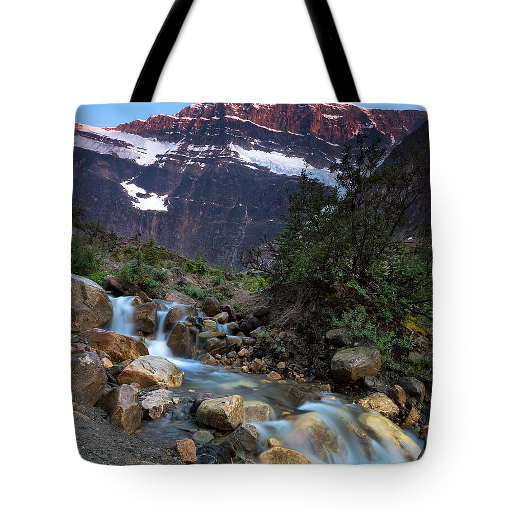 Jasper Tote Bag featuring the photograph Stream And Mt. Edith Cavell At Sunset by Cale Best
