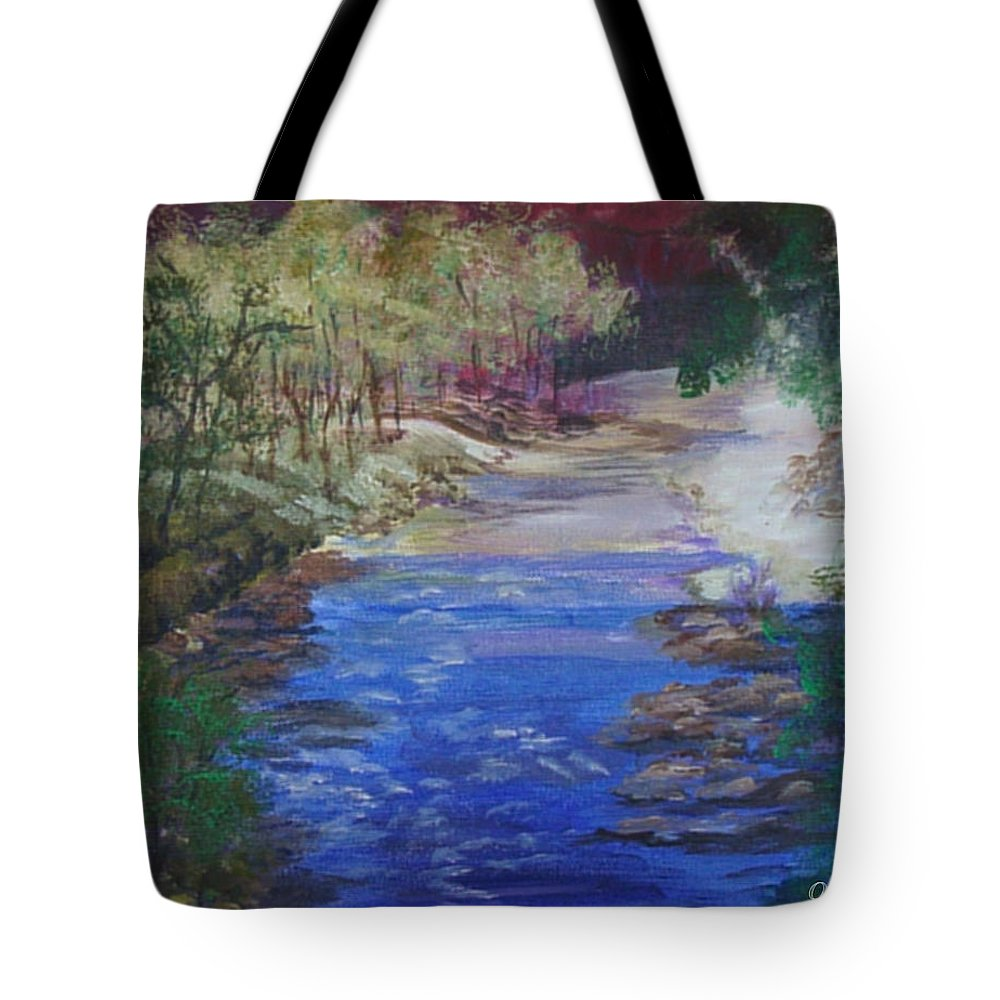 River Tote Bag featuring the painting Stream At Yosemite by Quwatha Valentine