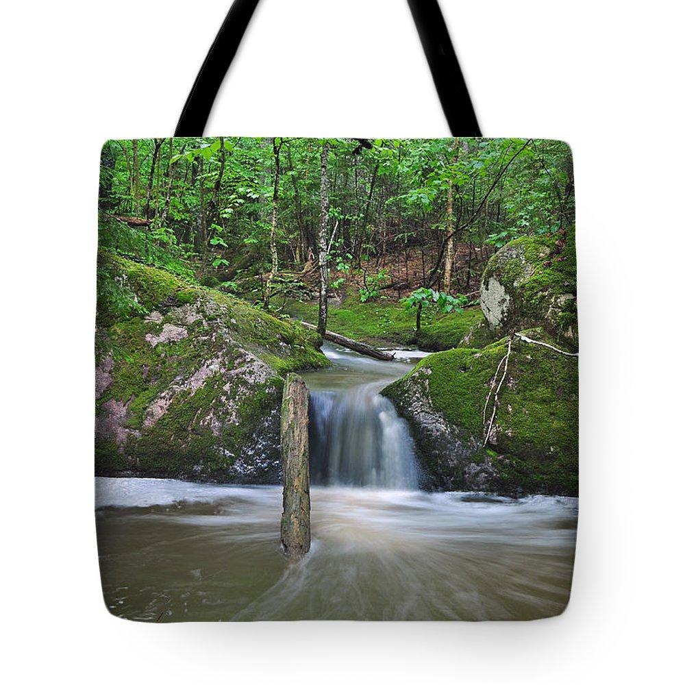 Waterfall Tote Bag featuring the photograph Stream Waterfall by Glenn Gordon