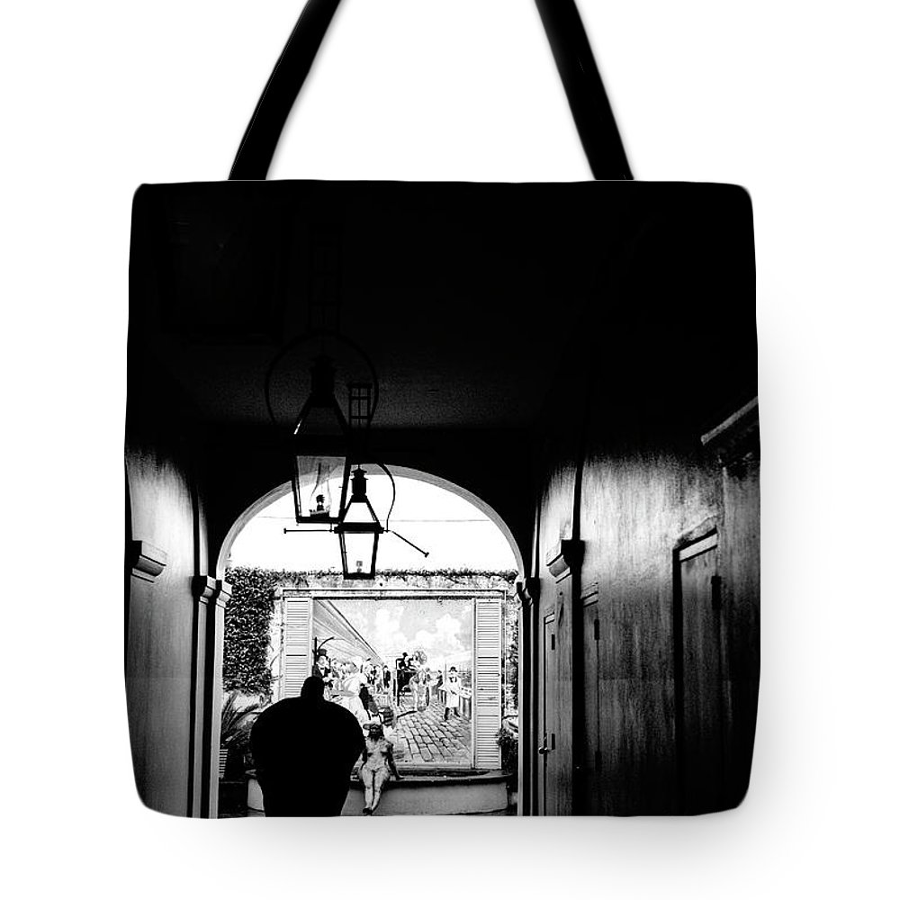 Street Photography Tote Bag featuring the photograph Street Ally New Orleans Black by Chuck Kuhn