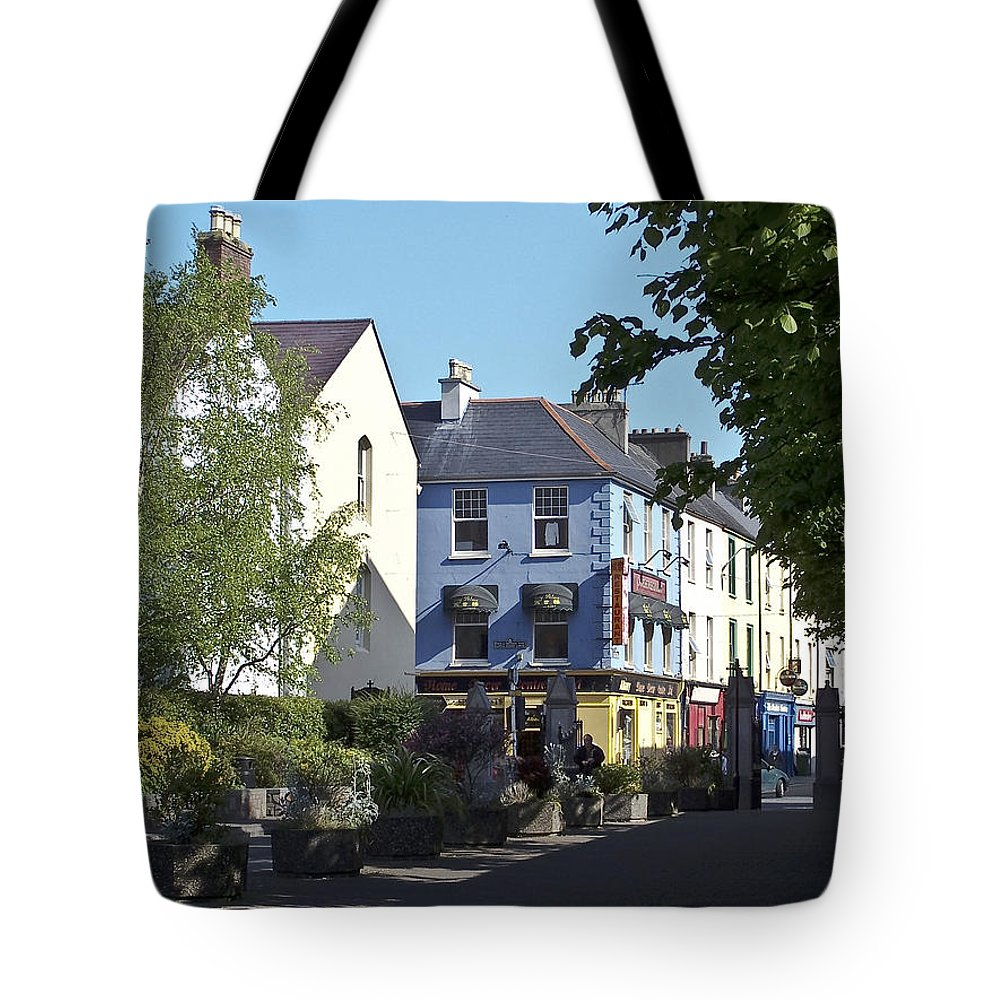 Irish Tote Bag featuring the photograph Street Corner In Tralee Ireland by Teresa Mucha