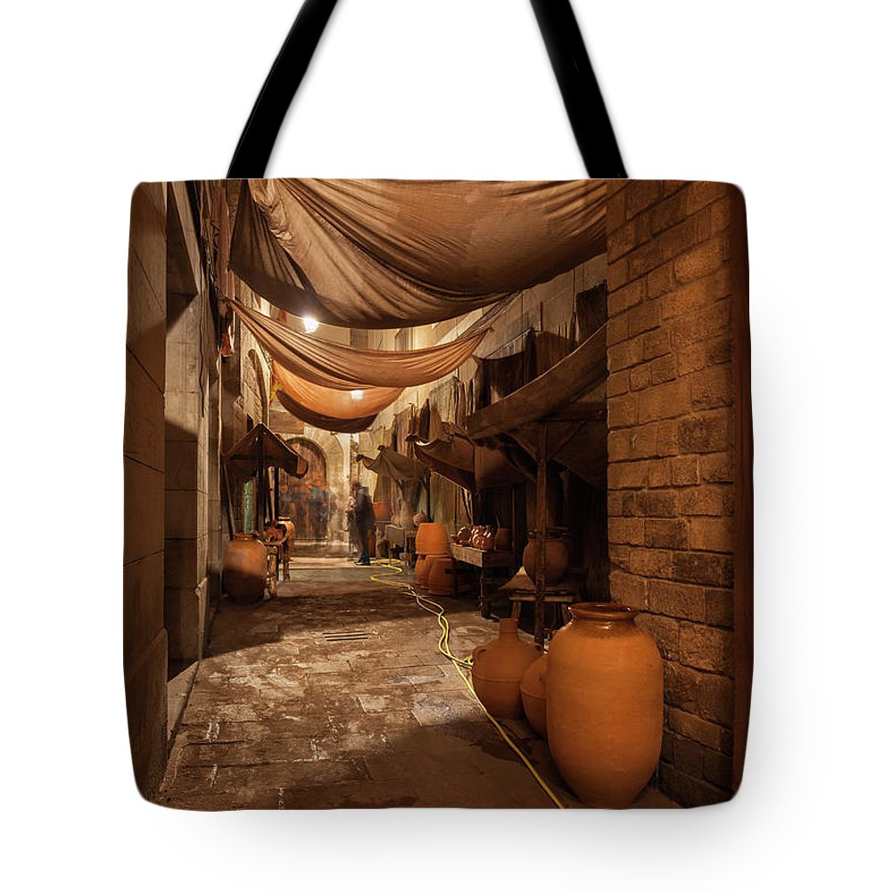 Barcelona Tote Bag featuring the photograph Street In Gothic District Of Barcelona At Night by Artur Bogacki