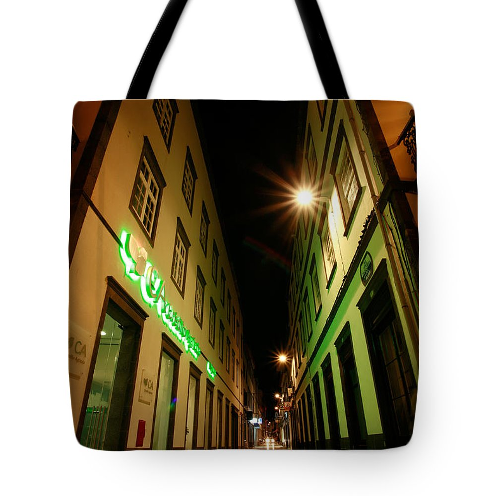 Portugal Tote Bag featuring the photograph Street In Ponta Delgada by Gaspar Avila