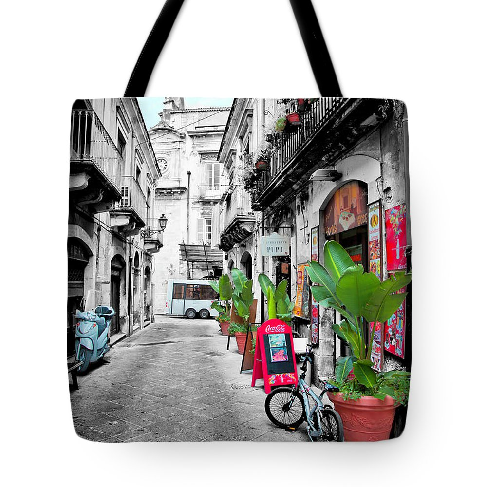 Street Tote Bag featuring the photograph Street In Sicily by Madeline Ellis