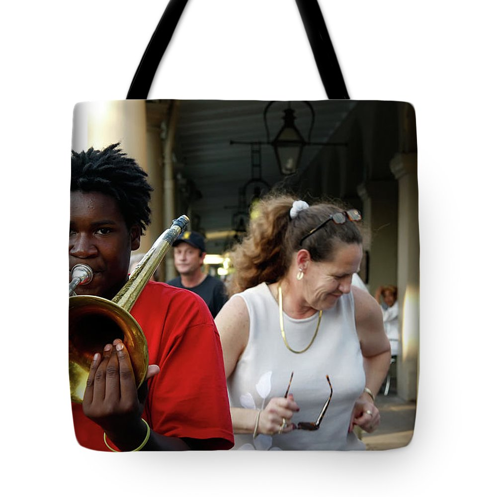 New Orleans Tote Bag featuring the photograph Street Jazz by KG Thienemann