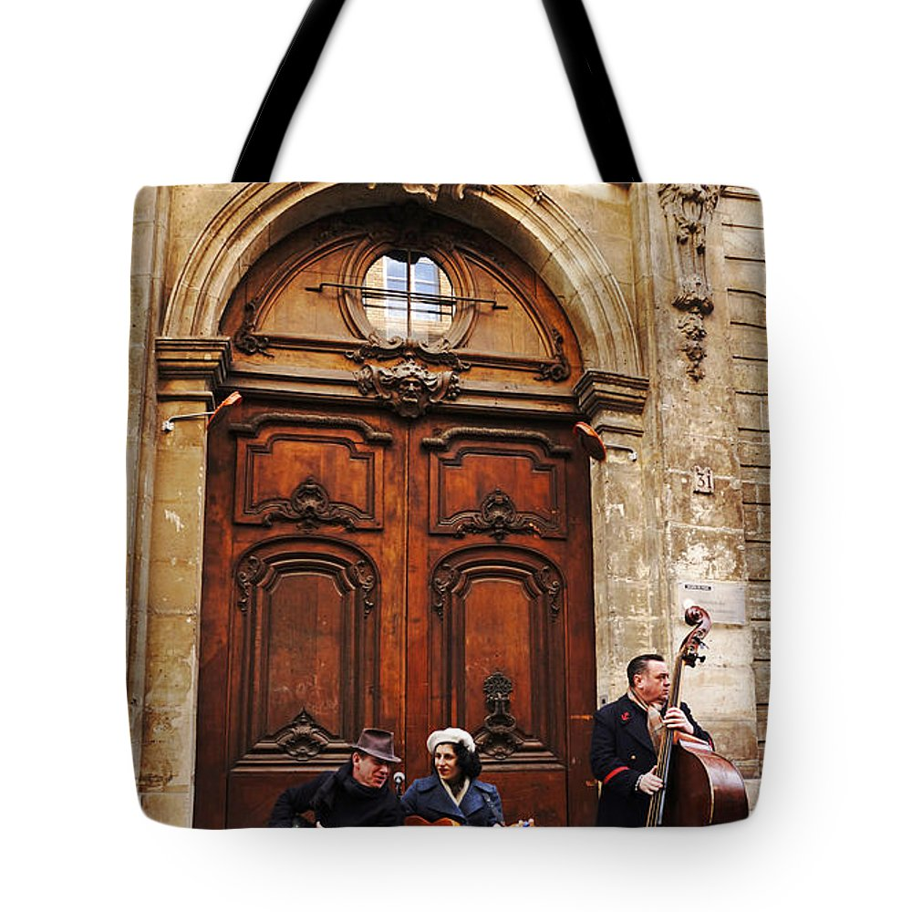 Europe Tote Bag featuring the photograph Street Jazz Paris France by Lawrence S Richardson Jr