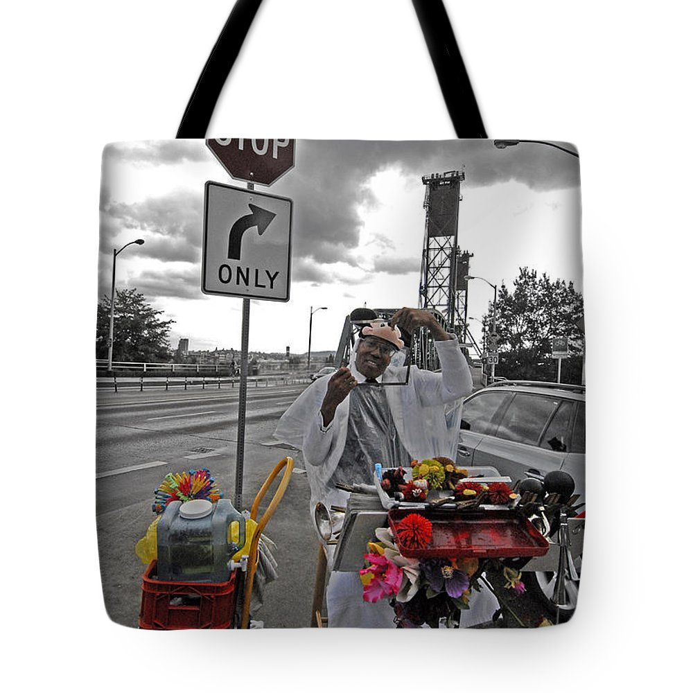 Street Tote Bag featuring the photograph Street Jester by Robert Ponzoni