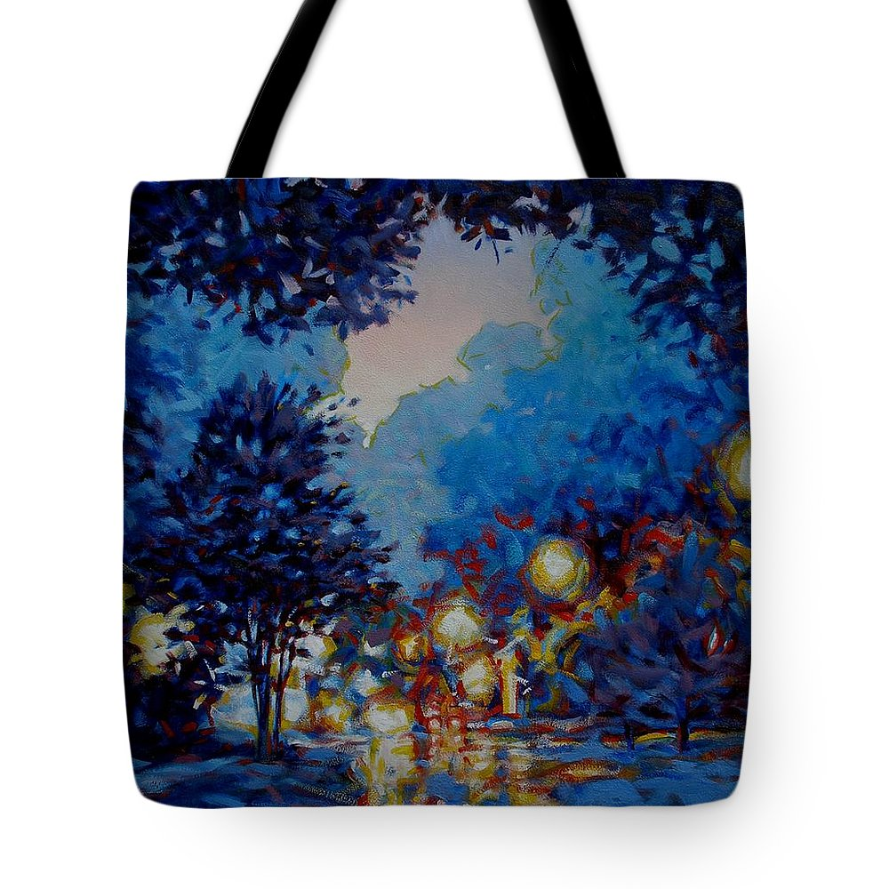 City Tote Bag featuring the painting Street Lights by Kevin Lawrence Leveque