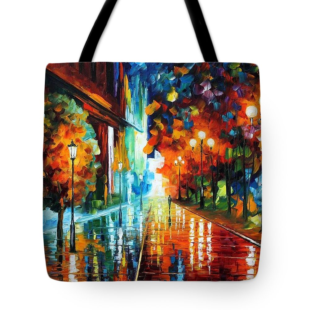 Afremov Tote Bag featuring the painting Street Of Hope by Leonid Afremov