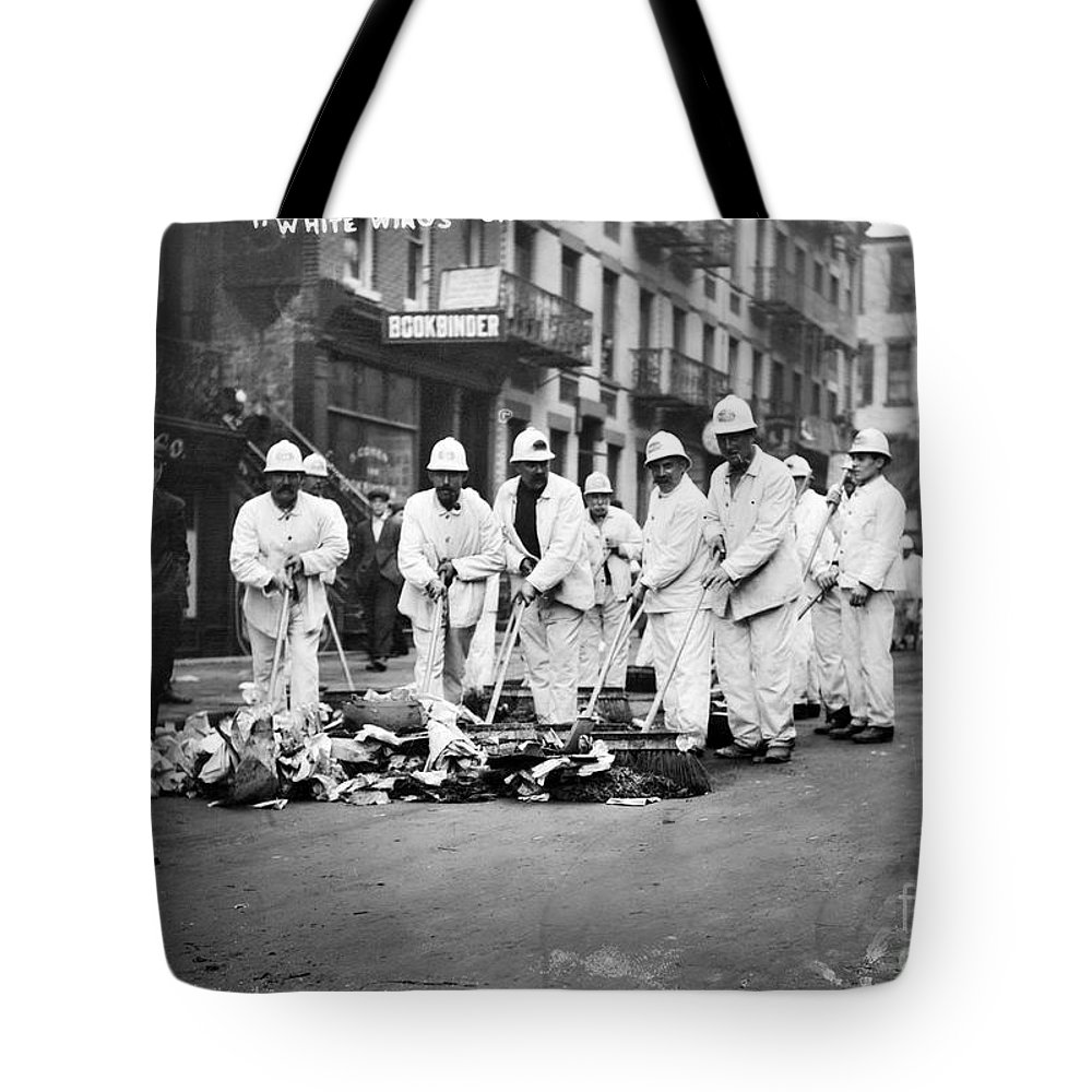 1911 Tote Bag featuring the photograph Street Sweepers, 1911 by Granger