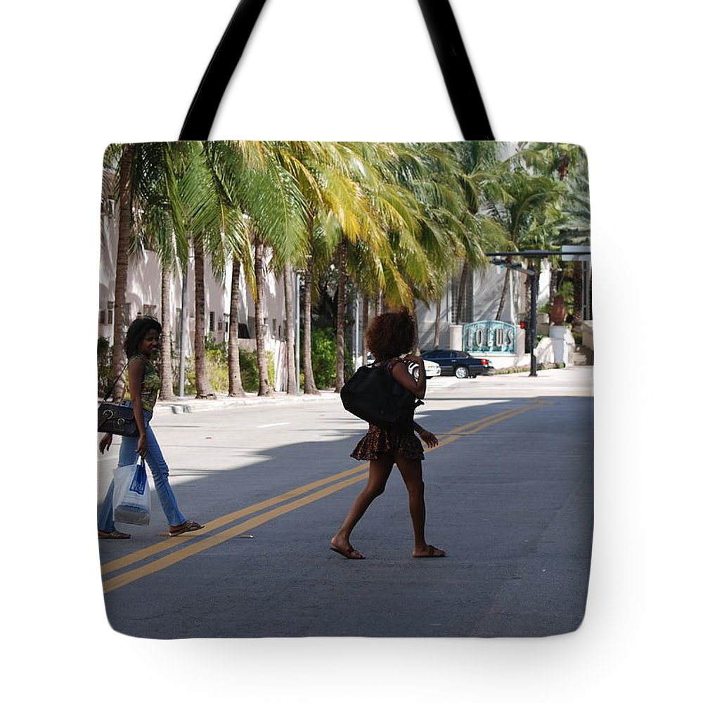Girls Tote Bag featuring the photograph Street Walkers by Rob Hans