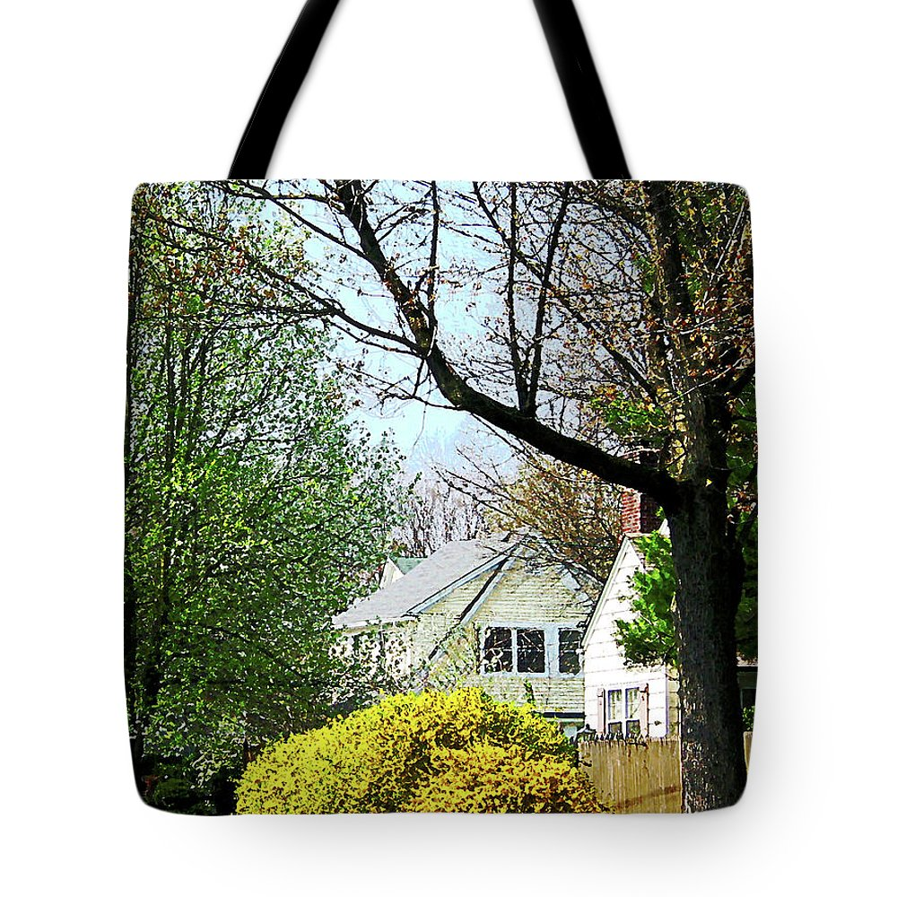 Spring Tote Bag featuring the photograph Street With Forsythia by Susan Savad