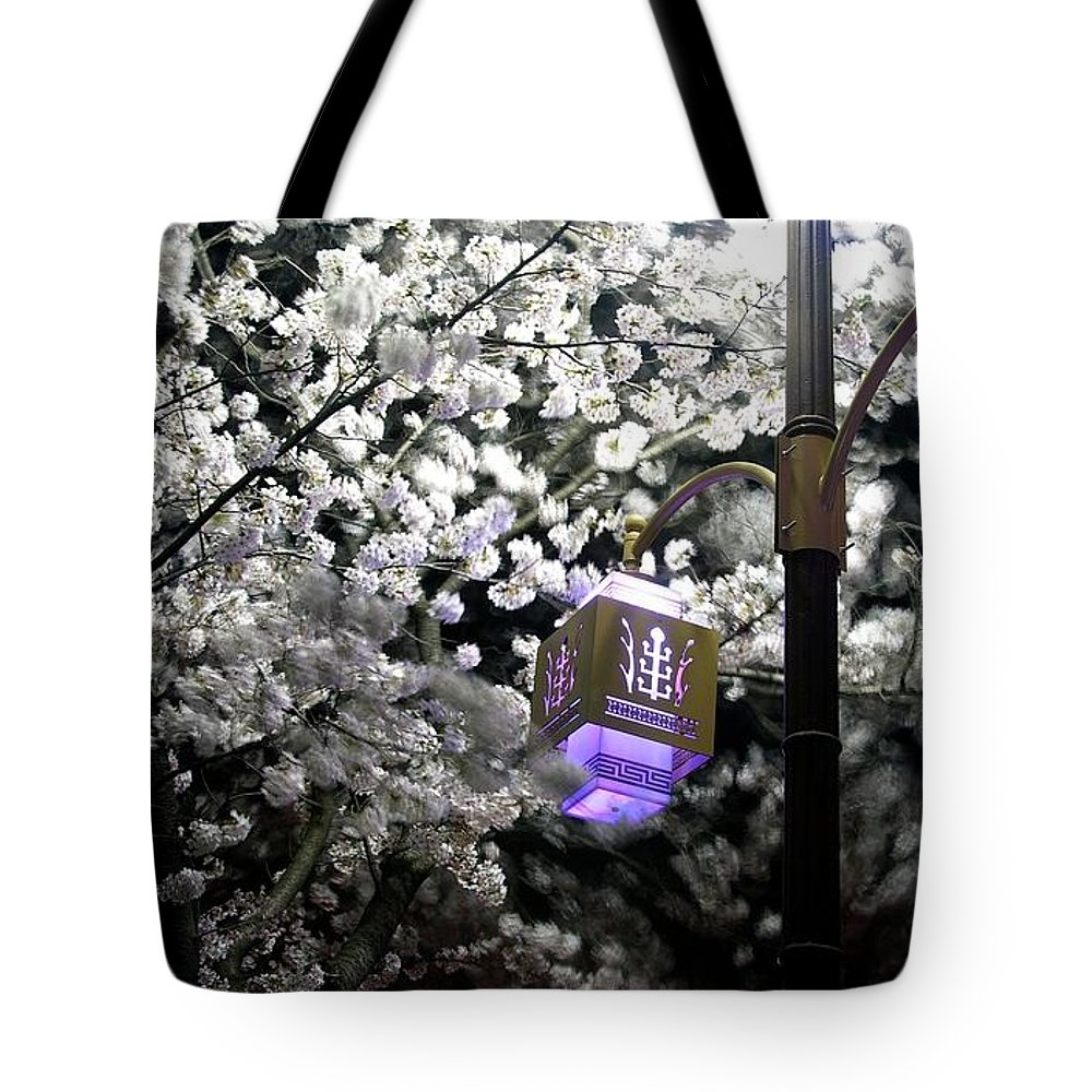 Streetlight Tote Bag featuring the photograph Streetlights In Blossoms by Michael Mathis