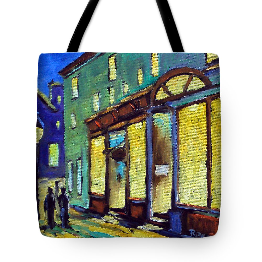 Town Tote Bag featuring the painting Streets At Night by Richard T Pranke
