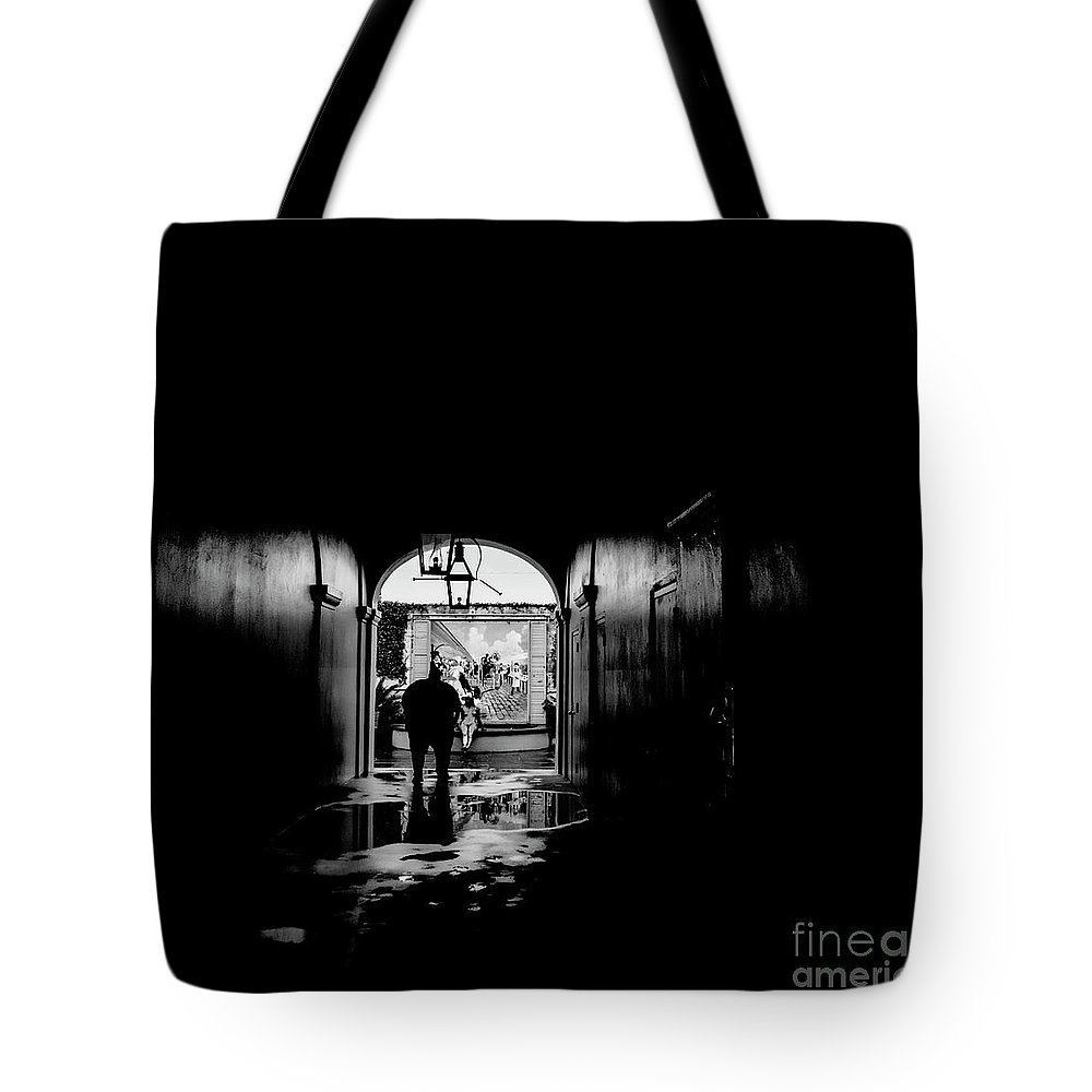 Street Photography Tote Bag featuring the photograph Streets Of New Orleans Black by Chuck Kuhn