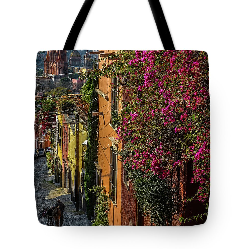 Street Tote Bag featuring the photograph Streets Of San Miguel by David Meznarich