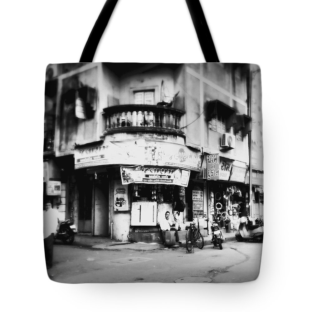 #street Photograohy #crossroads #street Corners #street Shops Tote Bag featuring the photograph StreetShots_Surat by Priyanka Dave