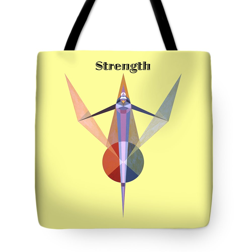 Painting Tote Bag featuring the painting Strength text by Michael Bellon