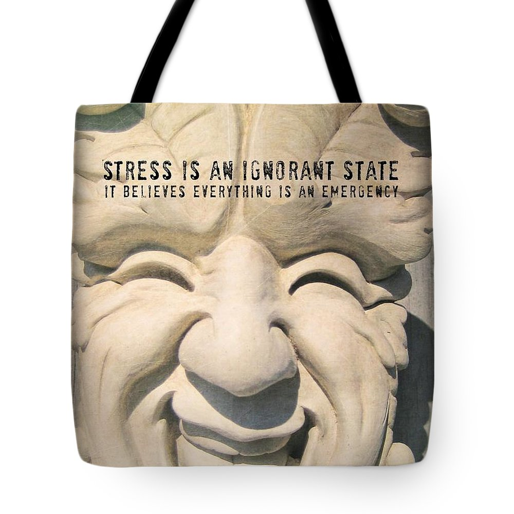 Smile Tote Bag featuring the photograph Stress Relief Quote by JAMART Photography
