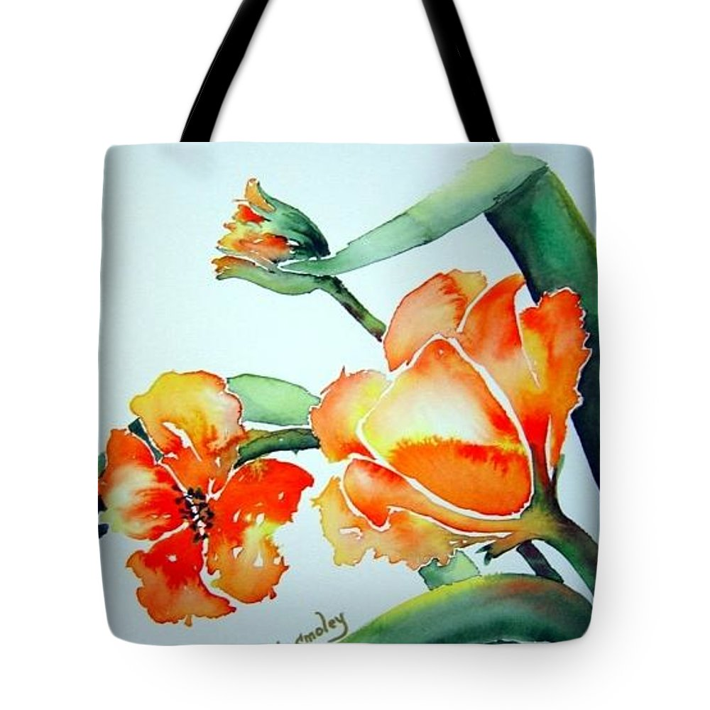Tulips Or Poppies Tote Bag featuring the painting Stretching In The Spring Sun by Joanne Smoley