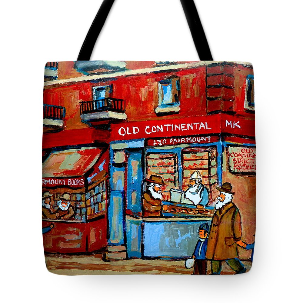 Old Continental On Fairmount Tote Bag featuring the painting Strictly Kosher by Carole Spandau