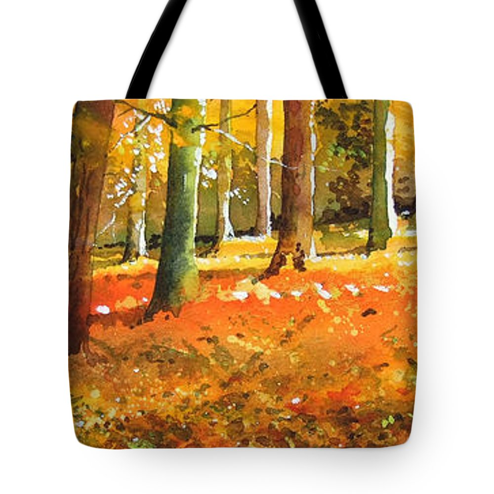 Woodland Landscape. Tote Bag featuring the painting Strid Wood by Paul Dene Marlor