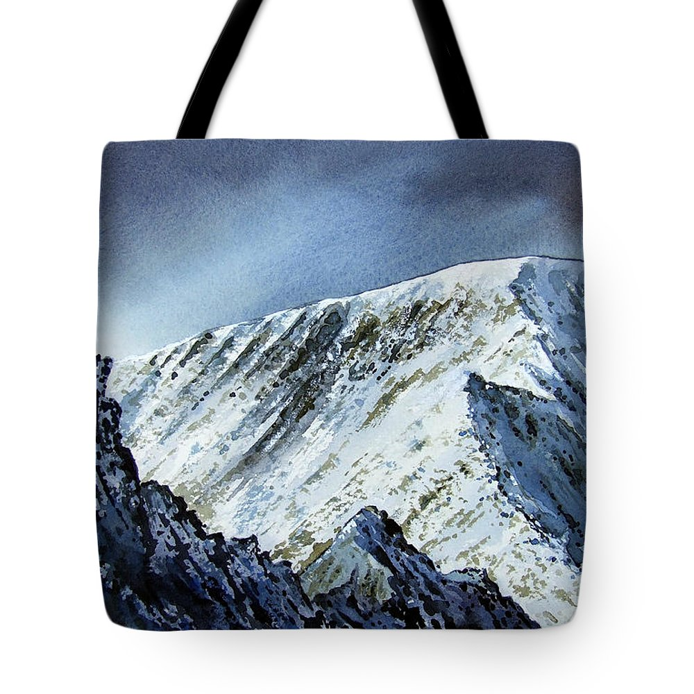 Mountain Tote Bag featuring the painting Striding Edge On Helvellin by Paul Dene Marlor