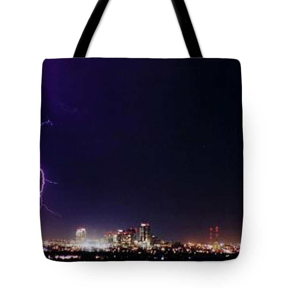 Thunderstorms Tote Bag featuring the photograph Strike One Over Bank One Ballpark by Cathy Franklin