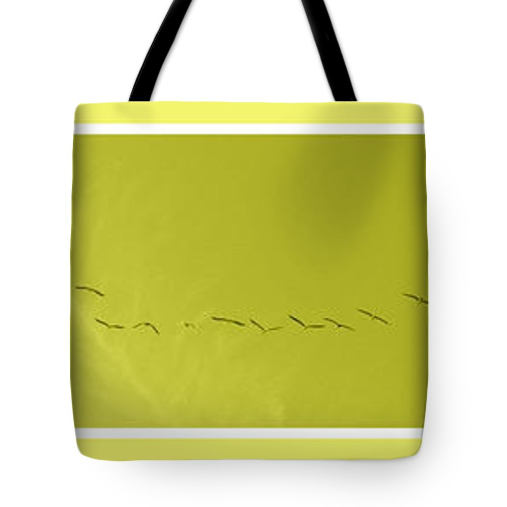 Birds Tote Bag featuring the photograph String Of Birds In Yellow by Mary Mikawoz