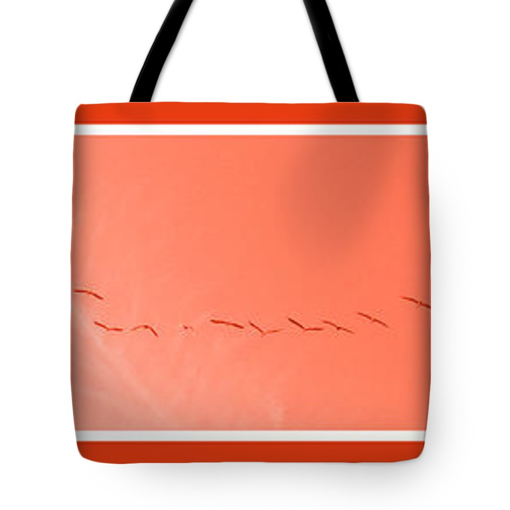 Birds Tote Bag featuring the photograph String Of Brids In Red by Mary Mikawoz