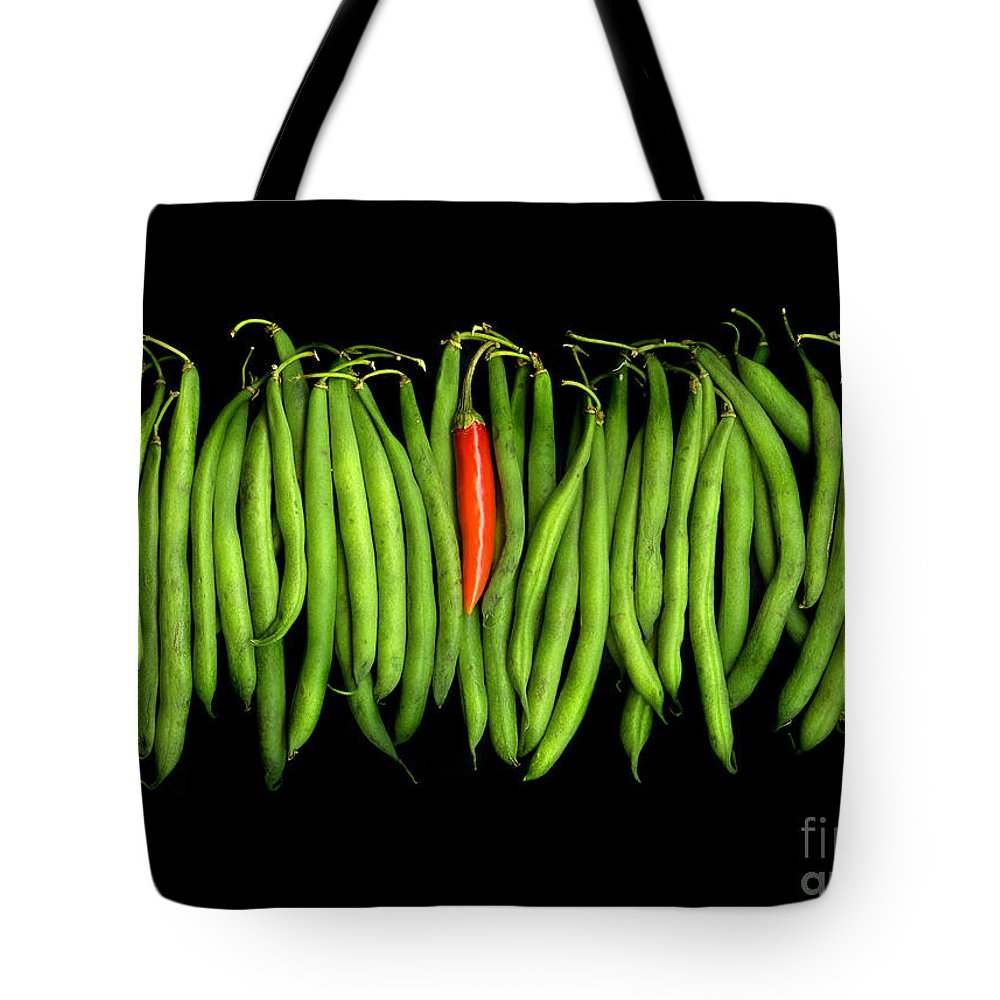 Culinary Tote Bag featuring the photograph Stringbeans And Chilli by Christian Slanec
