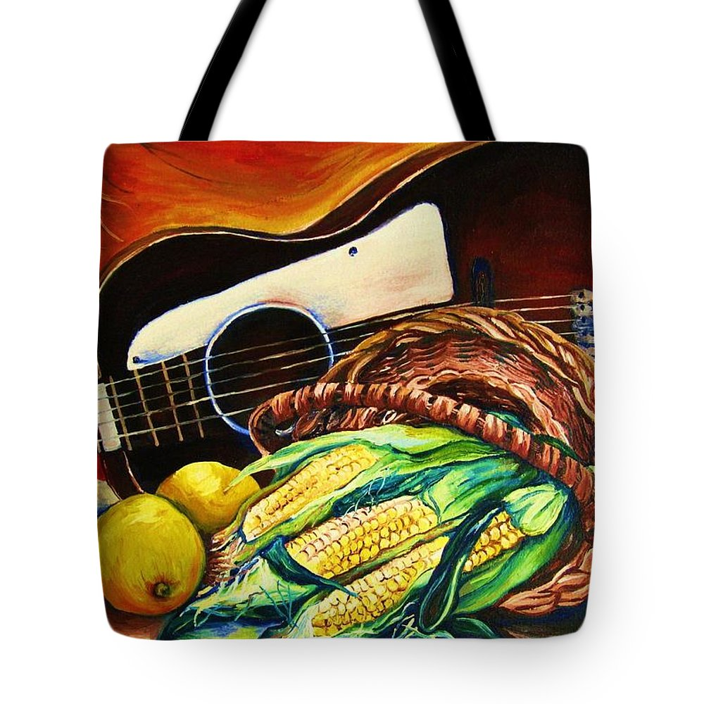 Country Life Tote Bag featuring the painting Strings Attached by Carole Spandau