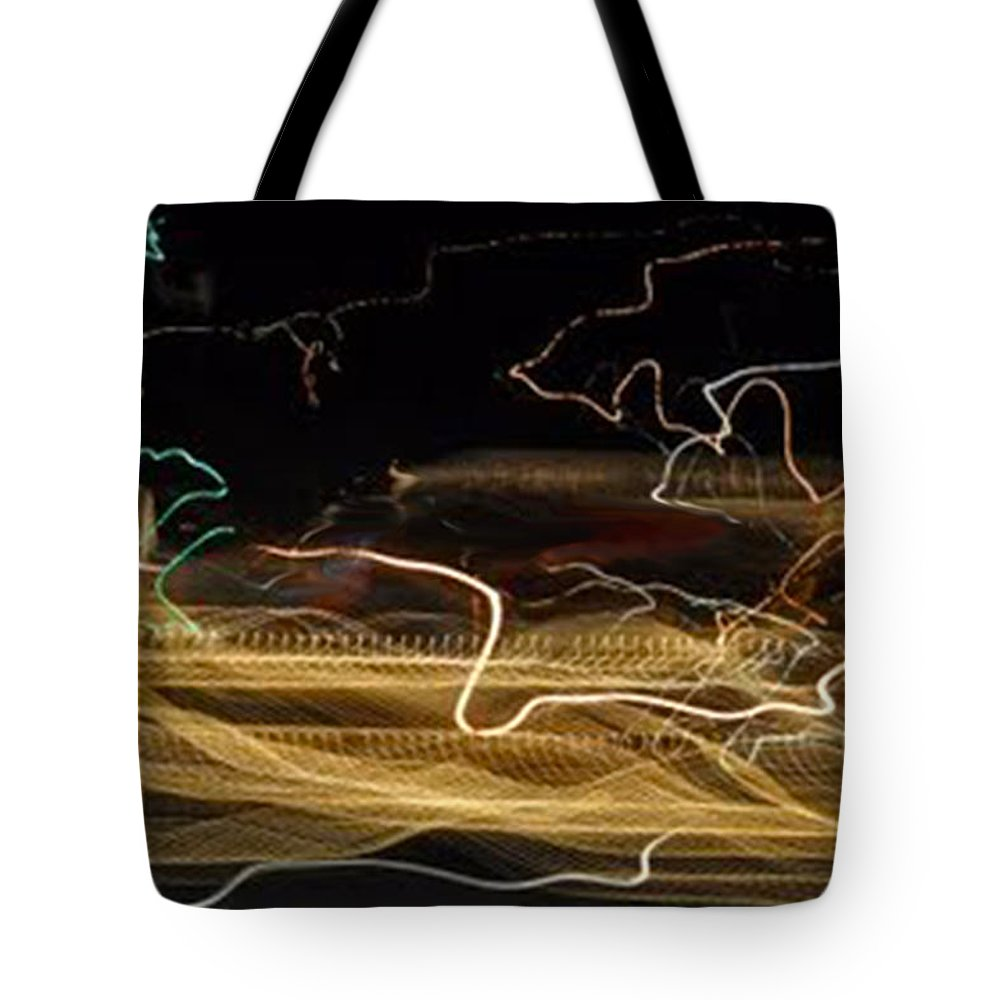 Abstracts Tote Bag featuring the digital art Strings Of Light by Terry Anderson